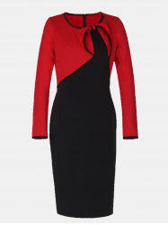 Vintage Fake Two Piece Round Collar Long Sleeve Pencil Dress -