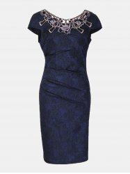 Floral Embroidered Short Sleeve Pencil Dress -
