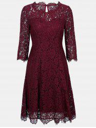 Lace Round Collar 3/4 sleeves A-line Dress -