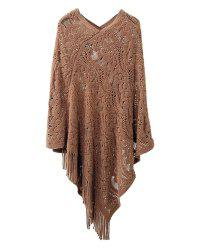 Hollow Out Fringe Irregular Pullover Shawl Sweater -