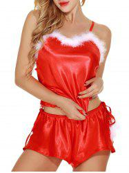 Two Piece Feathers Santa Babydoll Lingerie -