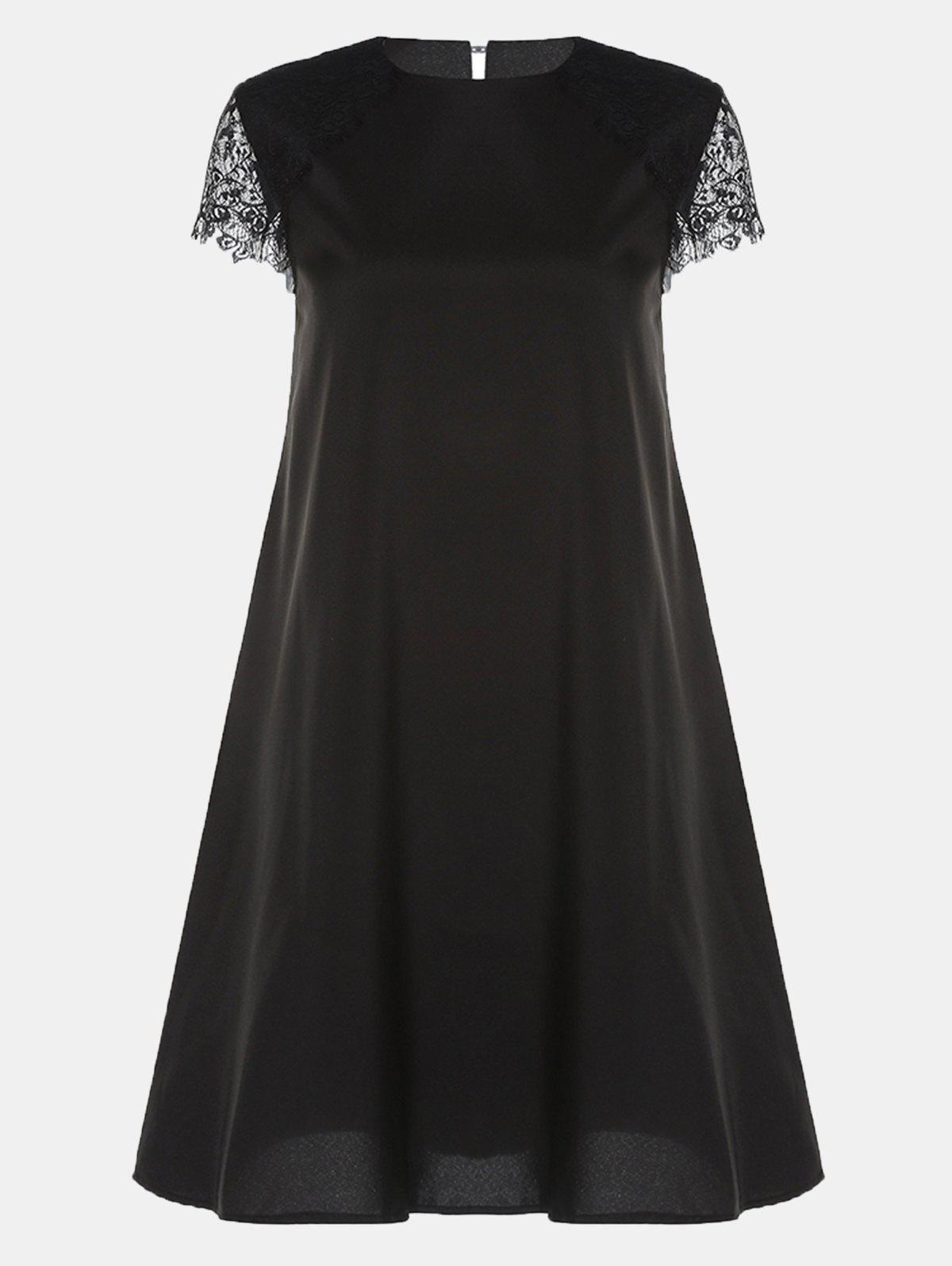 Store Round Collar Lace Short Sleeve Loose A-line Dress