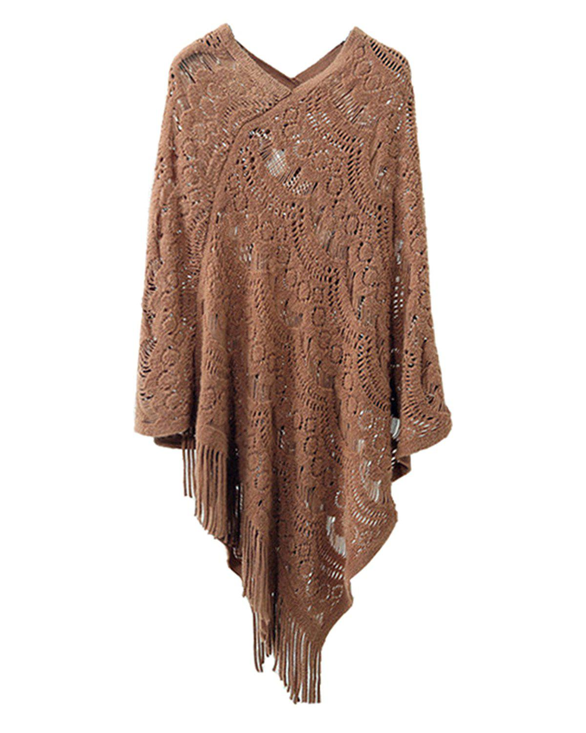 Unique Hollow Out Fringe Irregular Pullover Shawl Sweater