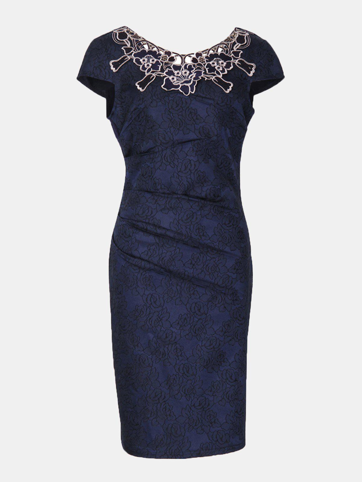 New Floral Embroidered Short Sleeve Pencil Dress