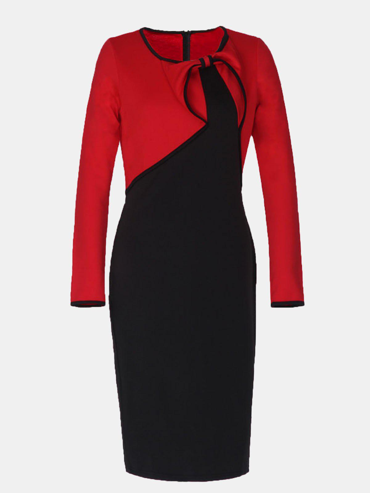 Latest Vintage Fake Two Piece Round Collar Long Sleeve Pencil Dress