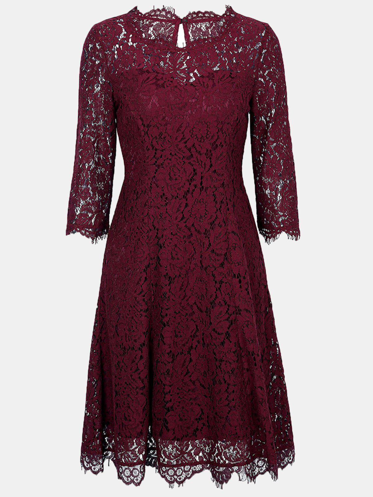 Affordable Lace Round Collar 3/4 sleeves A-line Dress