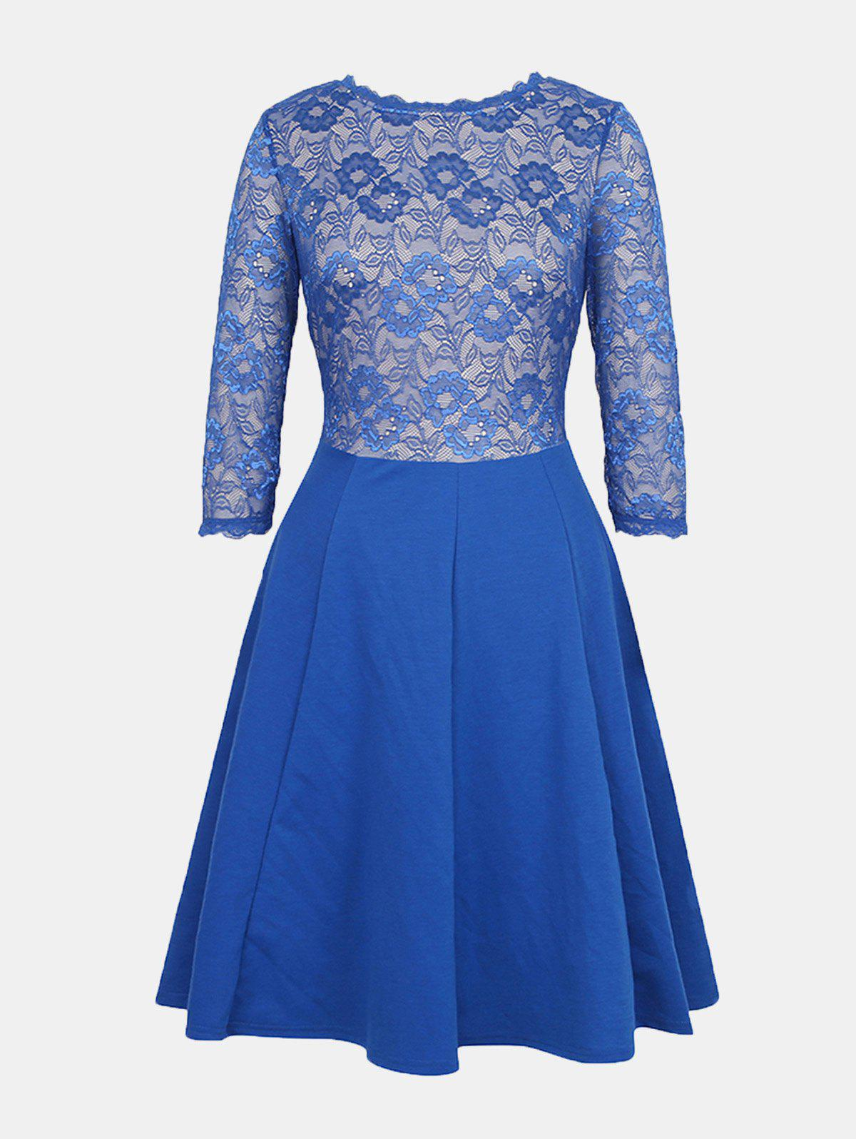Fashion Lace Patchwork Round Collar 7 Point Sleeve A-line Dress