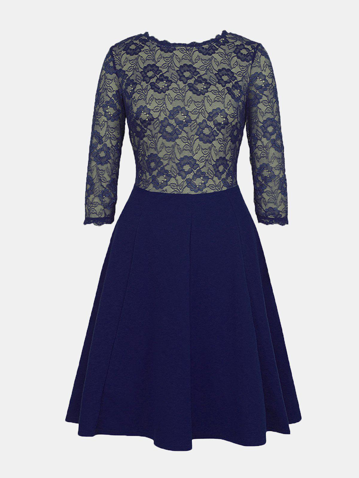 Best Lace Patchwork Round Collar 7 Point Sleeve A-line Dress