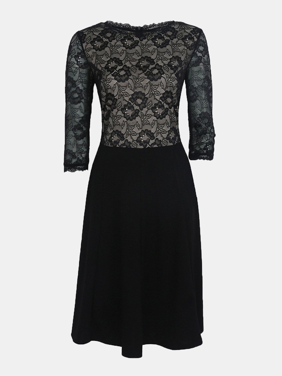 Outfit Lace Patchwork Round Collar 7 Point Sleeve A-line Dress