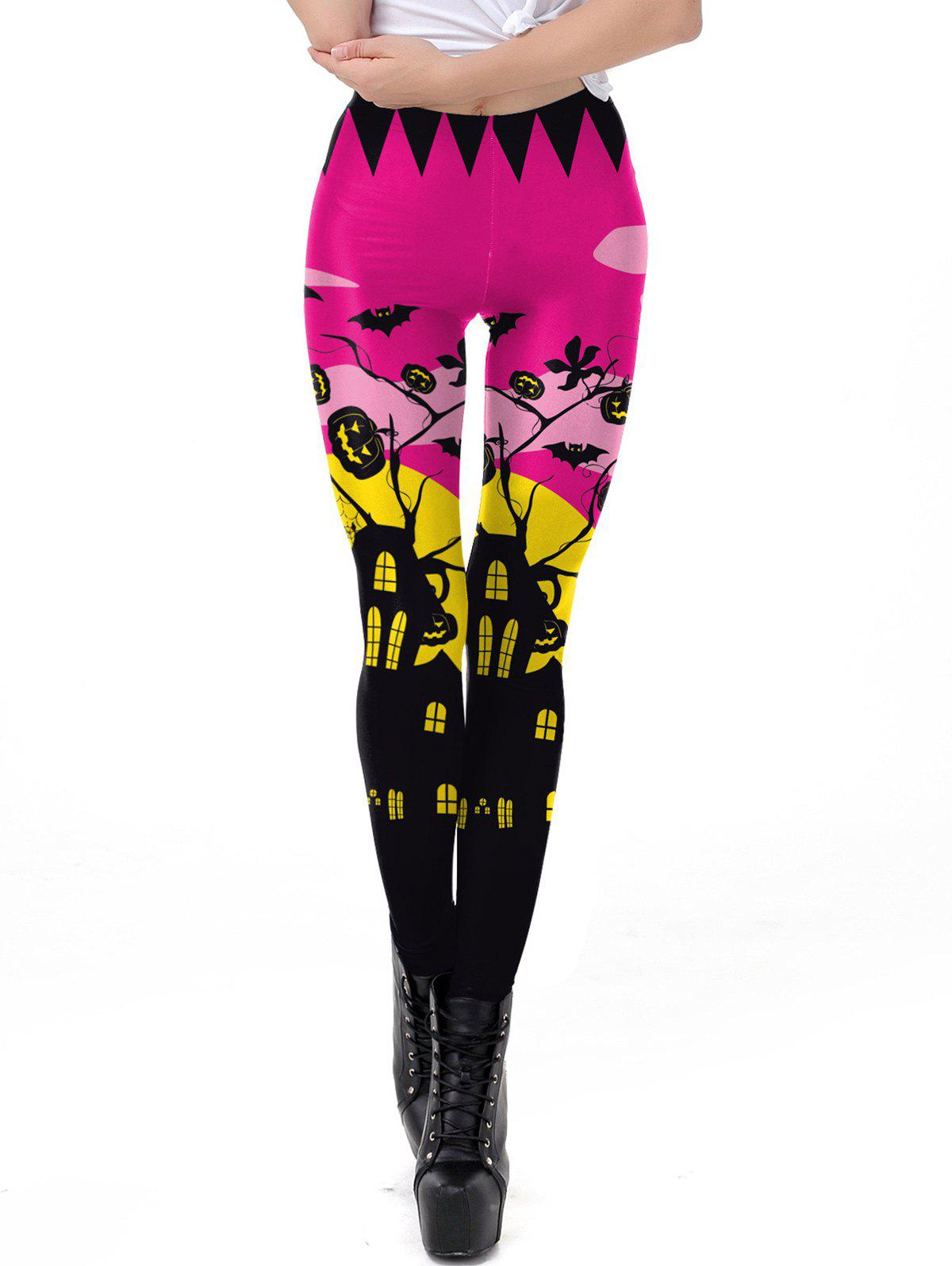 Discount Womens Classic Retro Printed Casual Pattern Ankle Length Elastic Tights Leggings