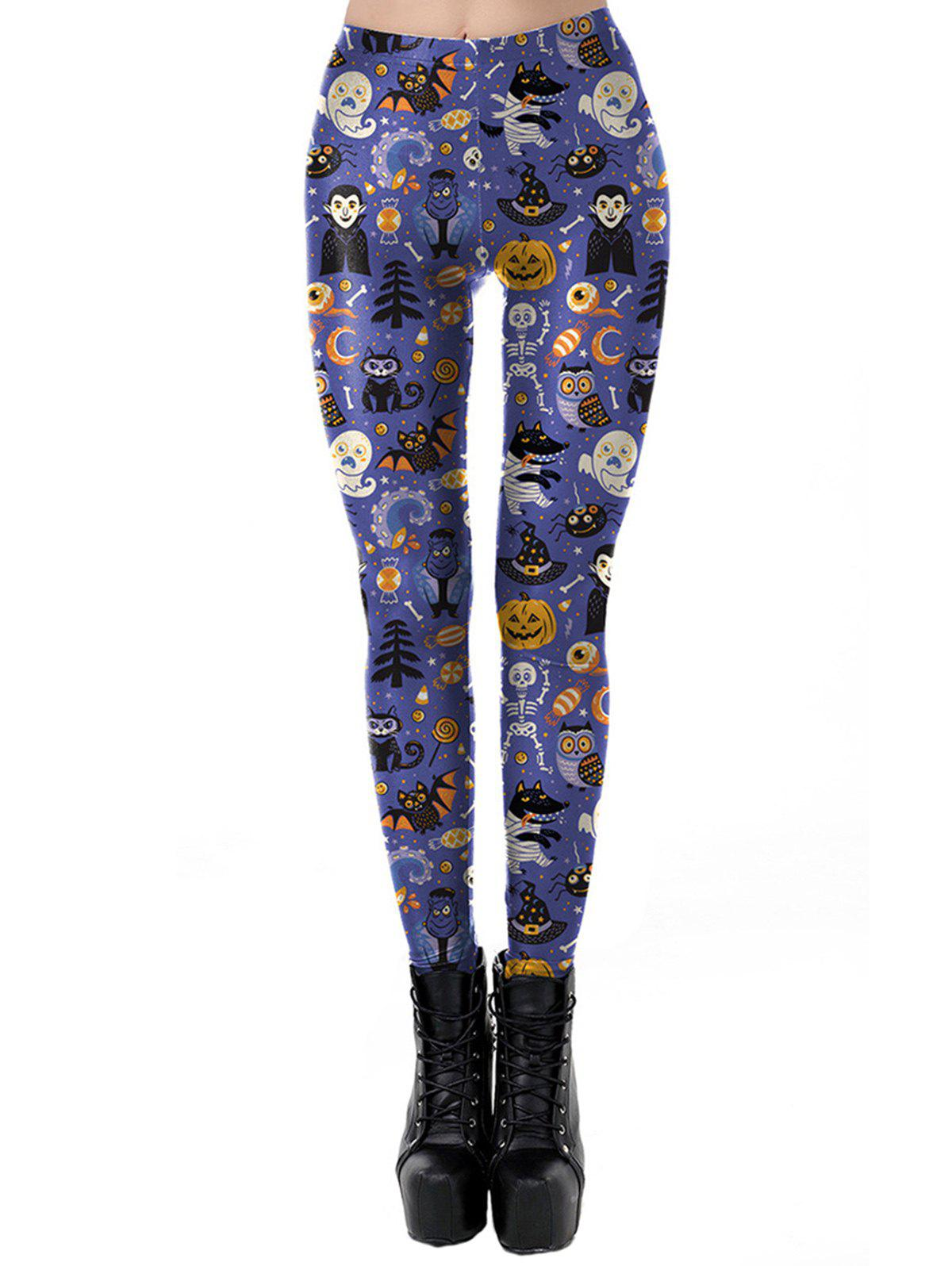 5ace182f5 Women Classic Retro Printed Casual Pattern Ankle Length Elastic Tights  Leggings - Purple - S