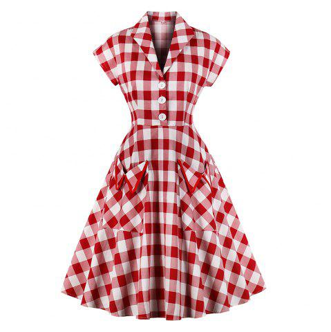 Fashion vintage plaid printing dress women retro style short sleeve pleated dress defined waist elegant big swing dress with pocket
