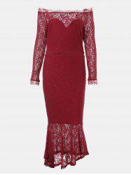 One Word Collar Long Sleeve Slim Fish Tail Lace Dress -