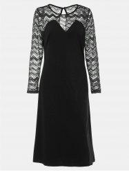 Round Collar Long Sleeve Lace Patchwork A-line Midi Dress -