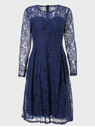Round Neck Long Sleeve A-line Lace Dress -