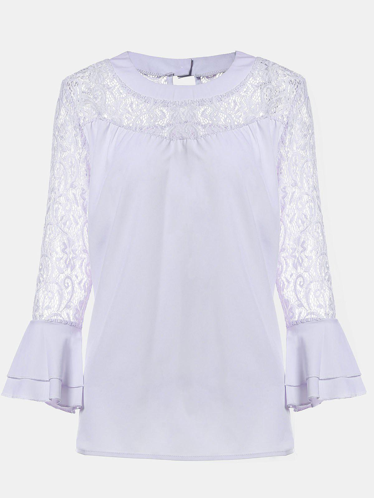 Online Women's Casual Lace Patchwork Chiffon  Tops