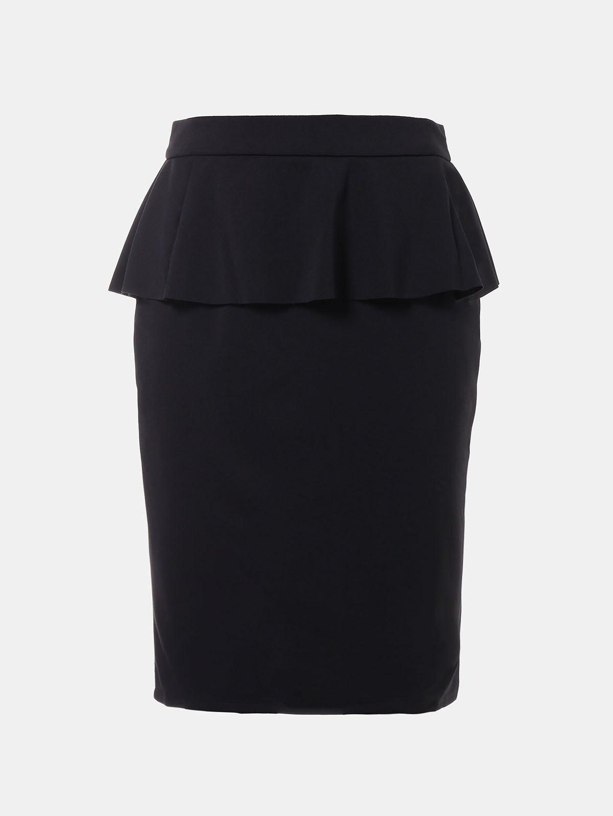 Outfits Ruffled Edge Knee Length Pencil Skirt