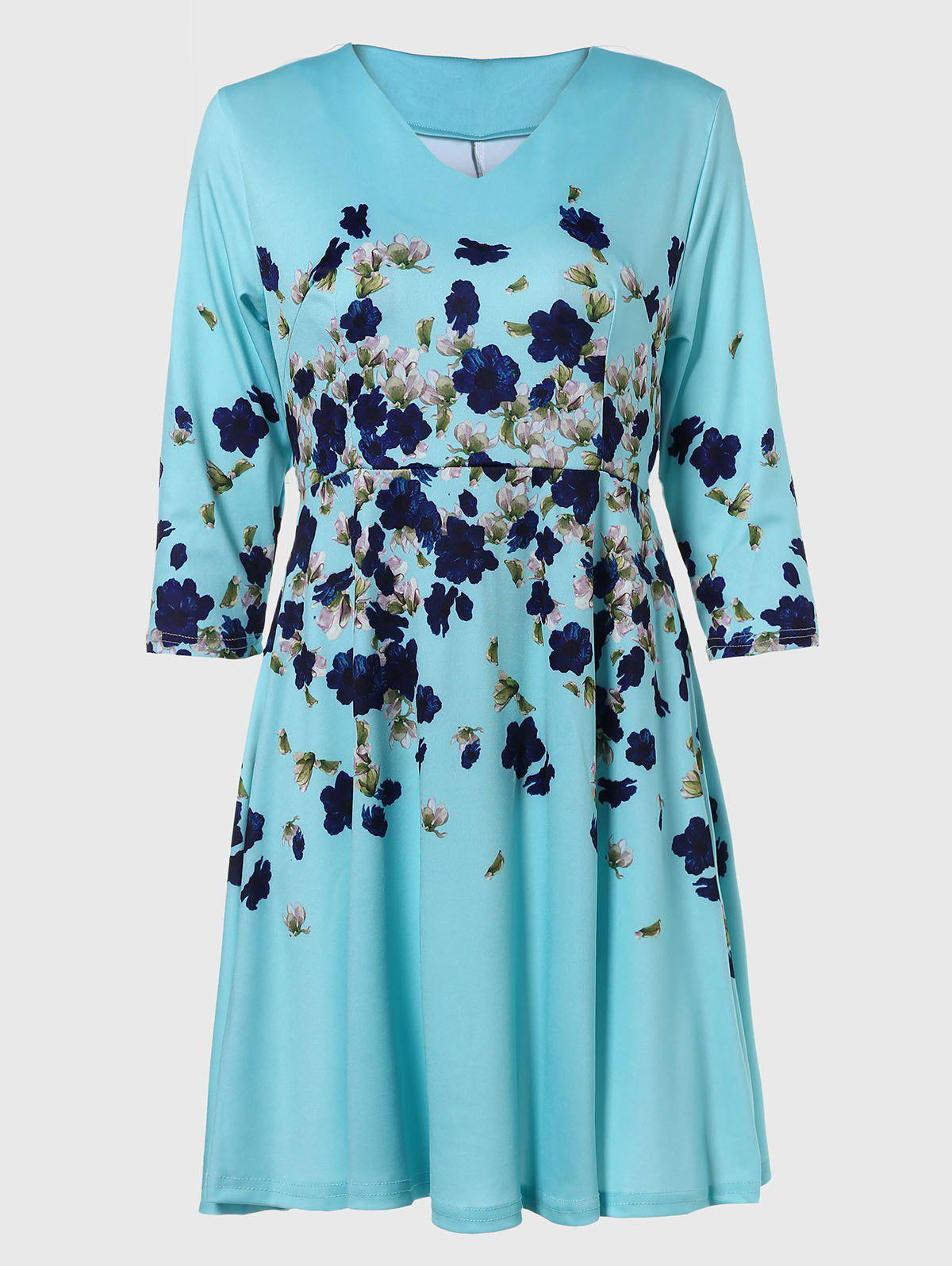 Fancy V-neck Positioning Flowers Print With3/4 sleeves A-line Dress