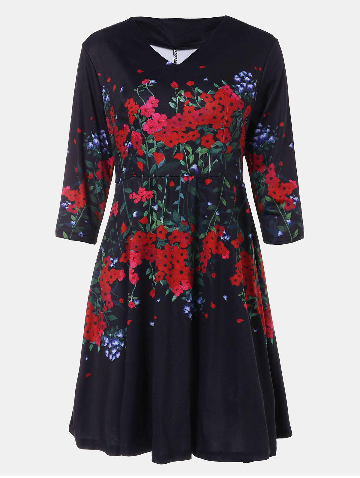 Store V-neck Positioning Flowers Print With3/4 sleeves A-line Dress
