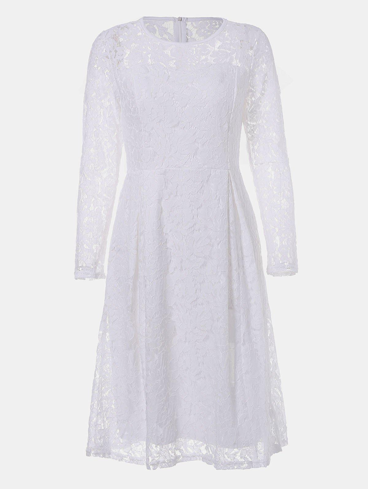 Fancy Round Neck Long Sleeve A-line Lace Dress