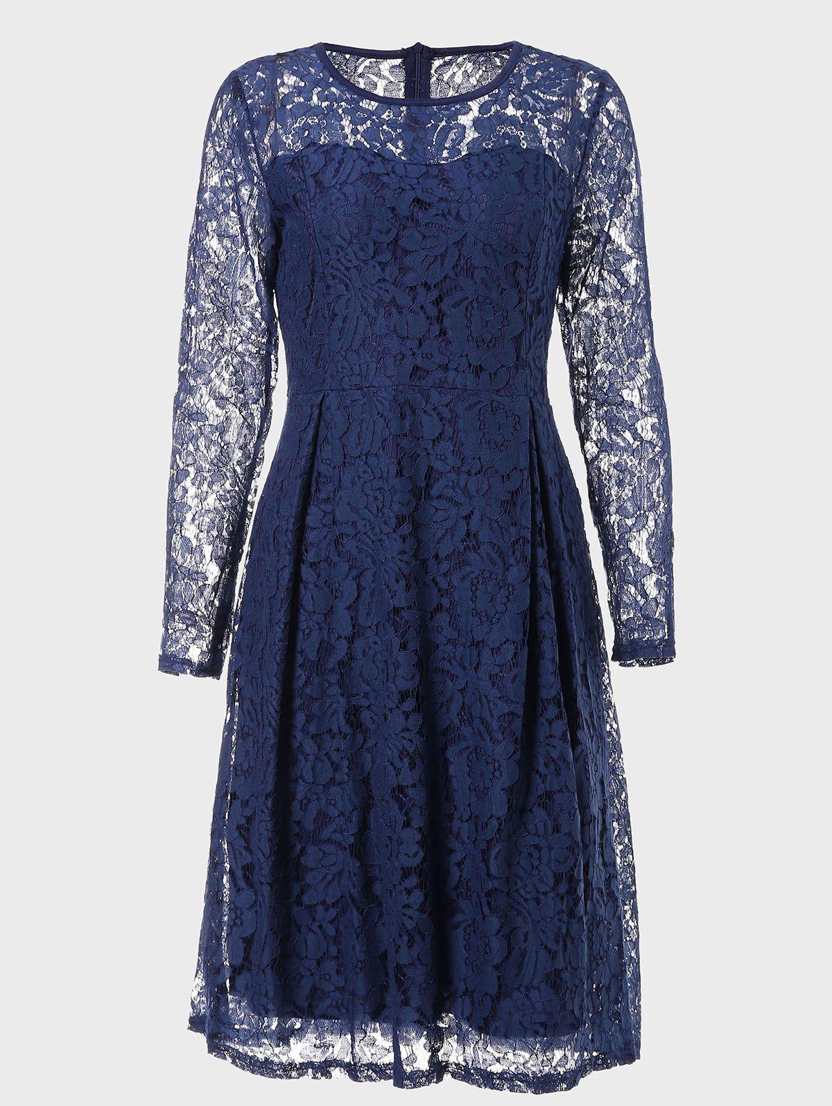 New Round Neck Long Sleeve A-line Lace Dress