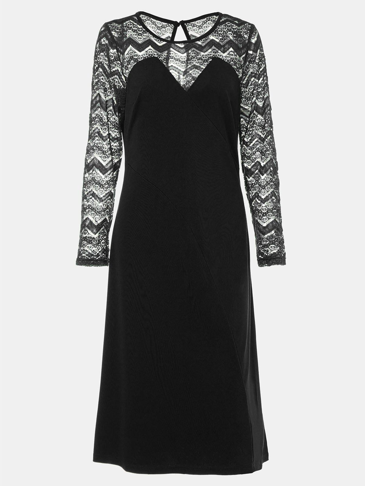 Unique Round Collar Long Sleeve Lace Patchwork A-line Midi Dress