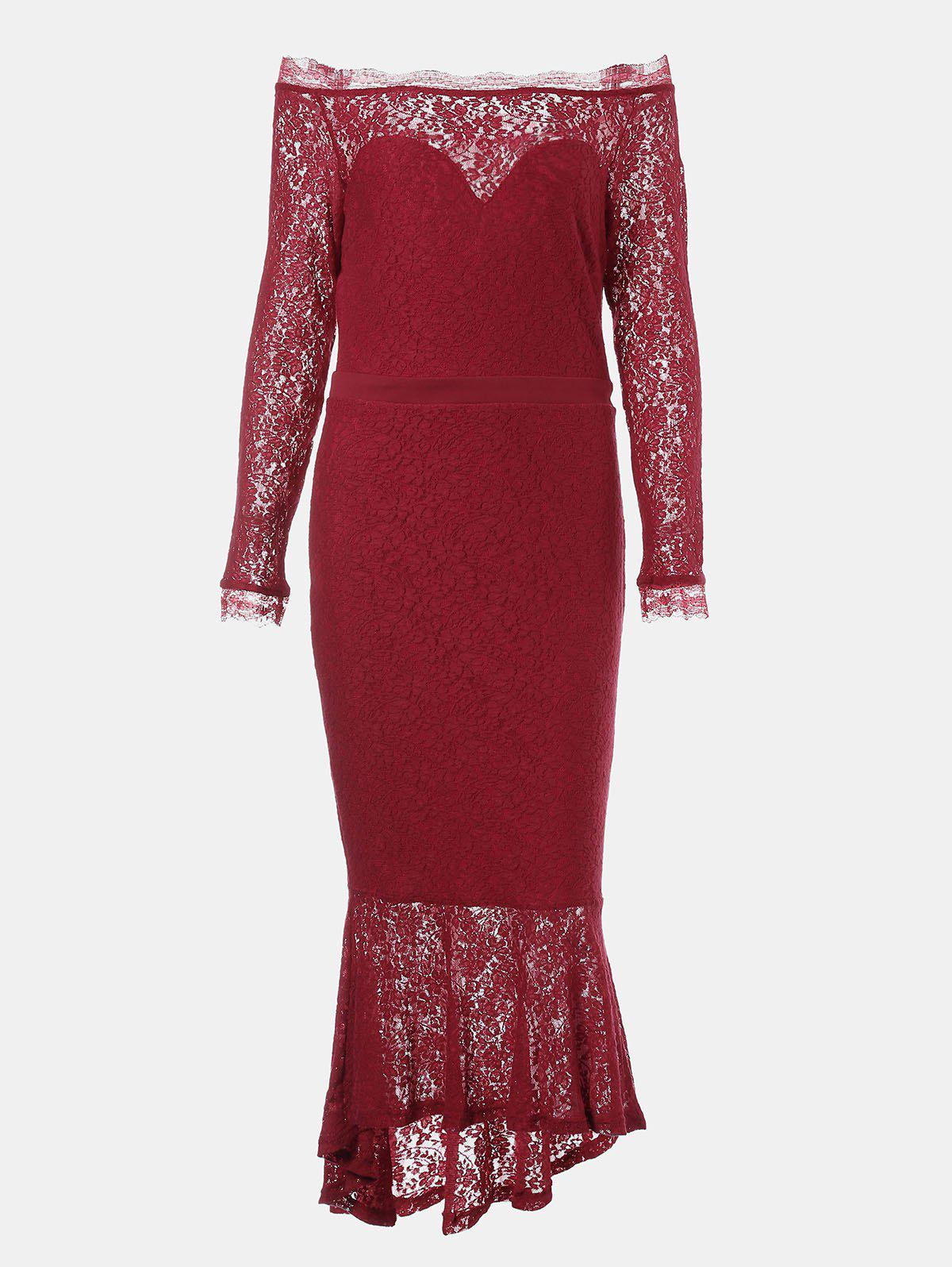 Cheap One Word Collar Long Sleeve Slim Fish Tail Lace Dress