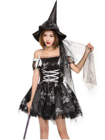 Halloween cosplay costume witch dress rose print witch game dress strapless tight waist ball gown
