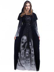 Women's Skull Witch Long Vampire Suit Dress Costume -