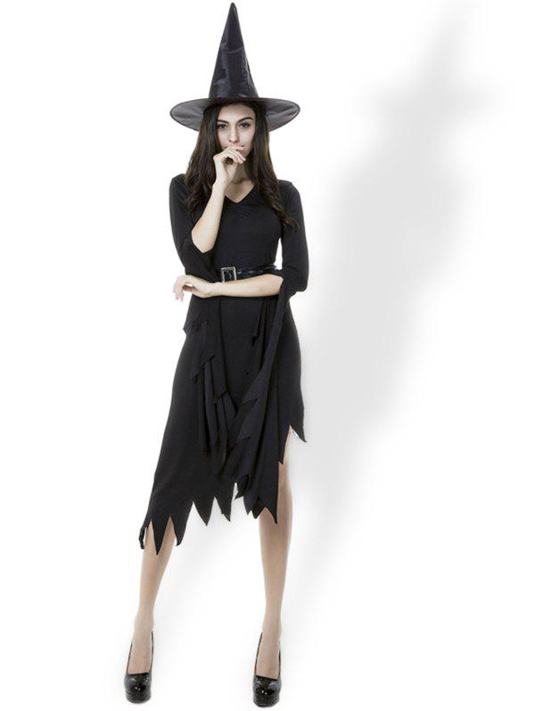 New Halloween Costumes Witch Women's Black Dress With Witch Hat