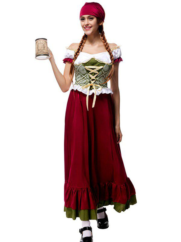 Outfit Halloween Costume Sexy Beer Girl Women's Lace up Long Dress With Headband
