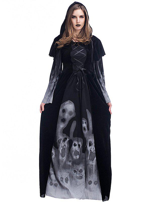 Affordable Women's Skull Witch Long Vampire Suit Dress Costume