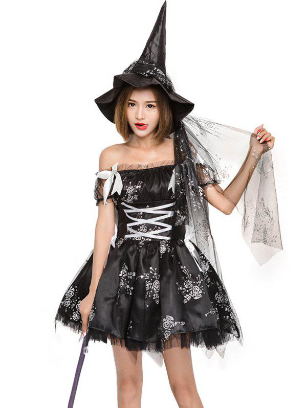 Chic Halloween cosplay costume witch dress rose print witch game dress strapless tight waist ball gown