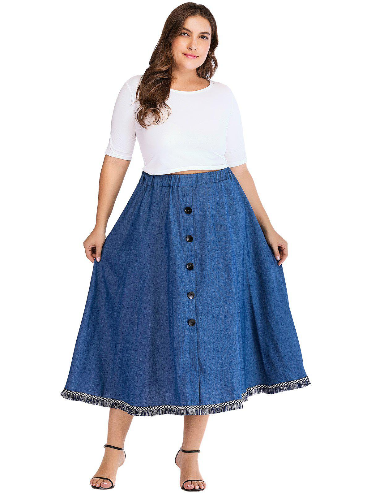 New Plus Size Button Fringed Denim Skirt