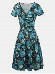 V Neck Short Sleeves Printed A-line Dress -
