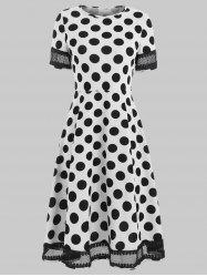 Women's Round Neck Short Sleeves See-through Lace Patchwork Dot Printing Dress -