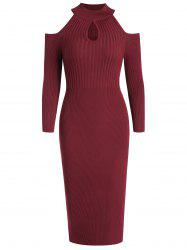 Women's Stand Collar Dew Shoulder Long Sleeved Bodycon Dress -