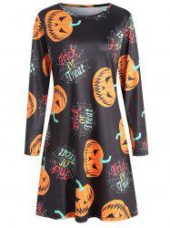 Women's Round Neck Long Sleeve Halloween Printing A-line Dress -