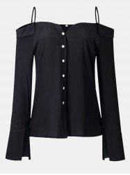 Women's Solid Color Dew Shoulder Long Sleeved Button-down Tops -