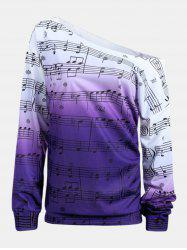 Personality Gradually Change Color Note Printing Loose Long Sleeve Top -