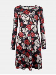 Women's Round Neck Long Sleeves Halloween Printing A-line Dress -