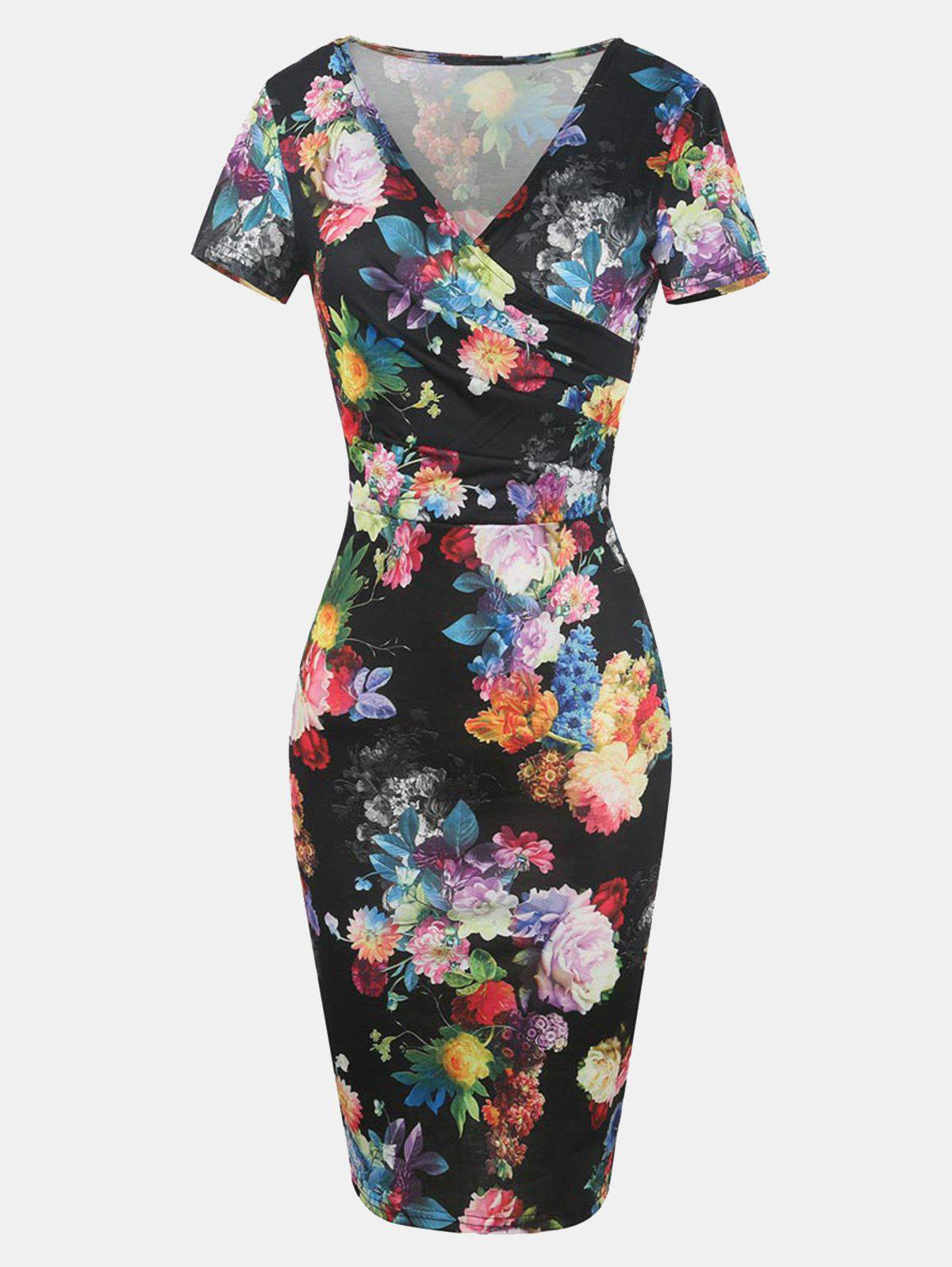 Chic Printed V Neck Short Sleeve Pleated Bodycon Dress