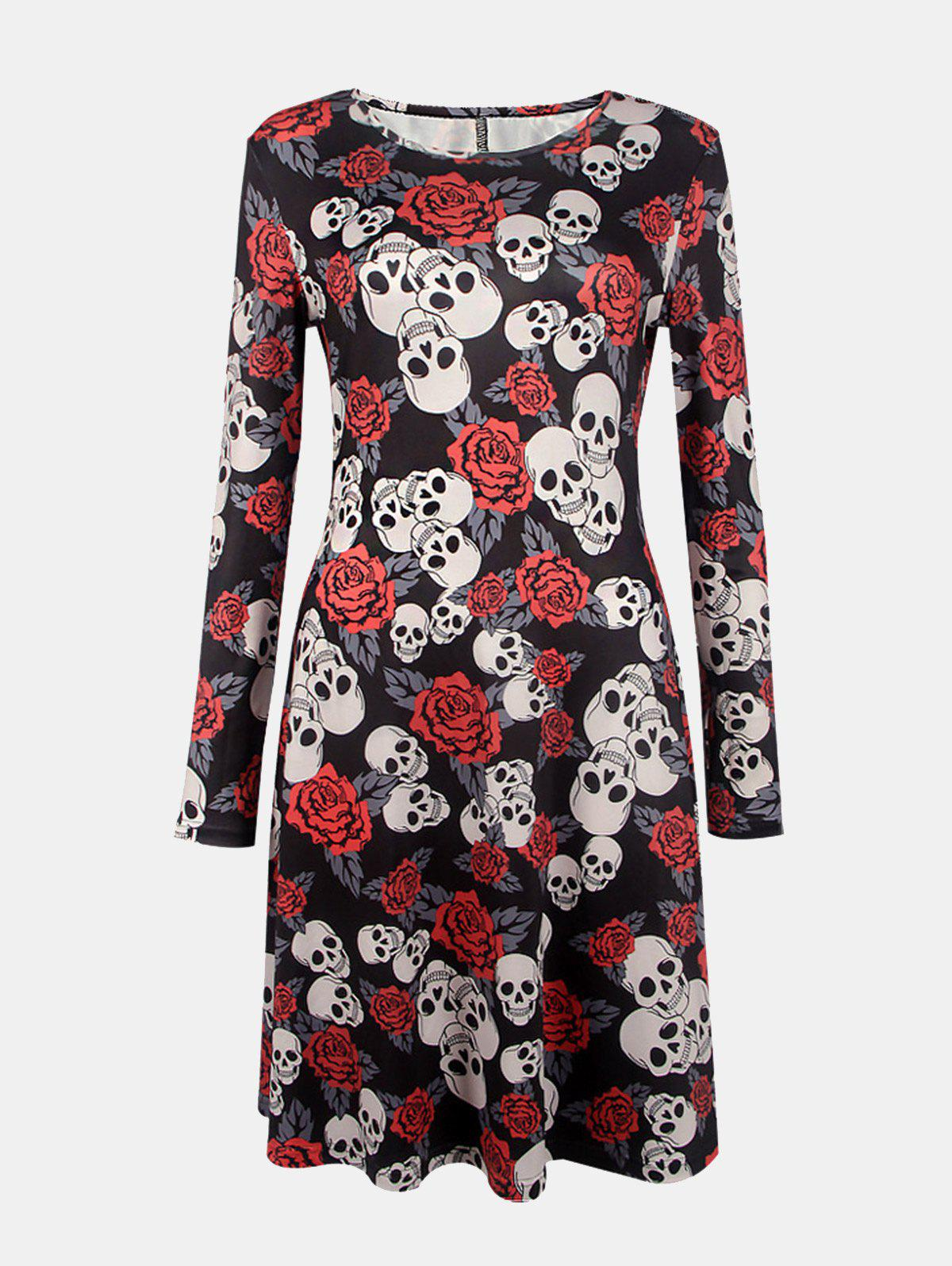 New Women's Round Neck Long Sleeves Halloween Printing A-line Dress