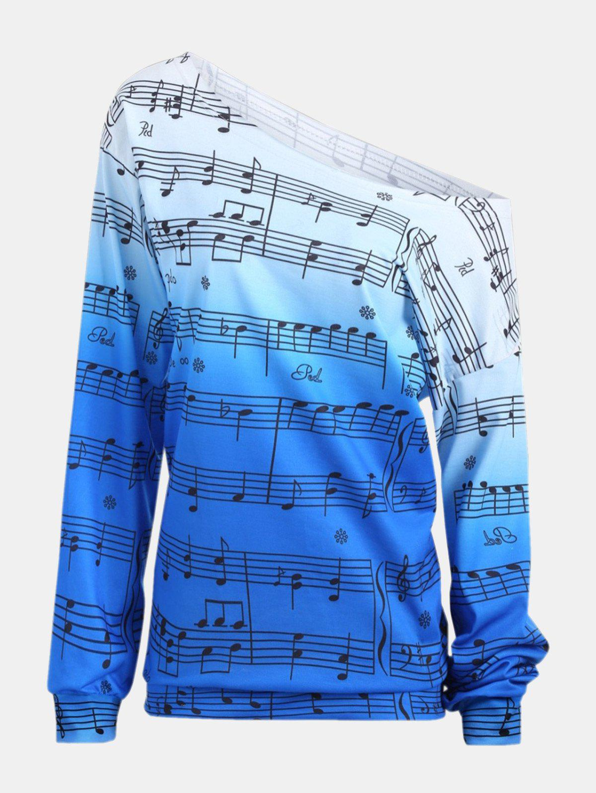 Fancy Personality Gradually Change Color Note Printing Loose Long Sleeve Top