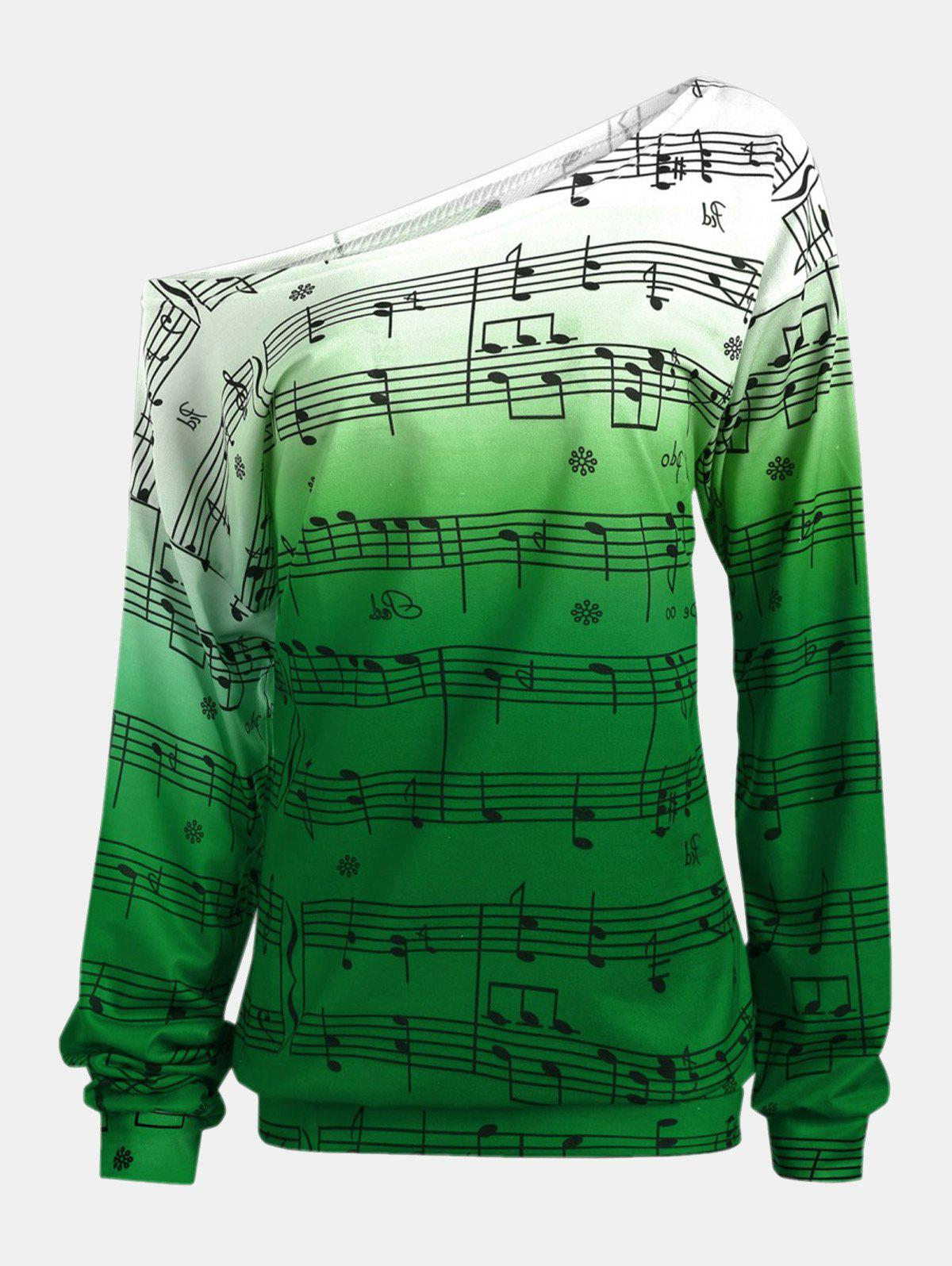 Best Personality Gradually Change Color Note Printing Loose Long Sleeve Top