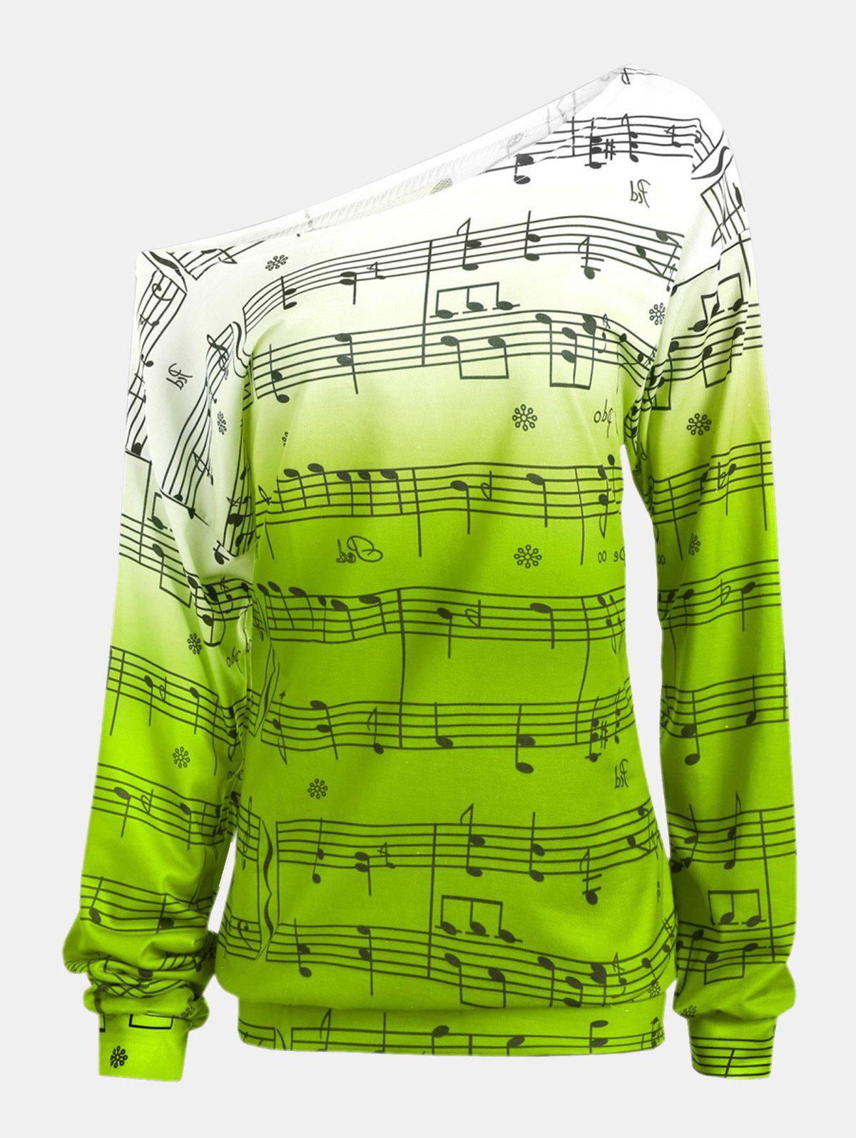Hot Personality Gradually Change Color Note Printing Loose Long Sleeve Top
