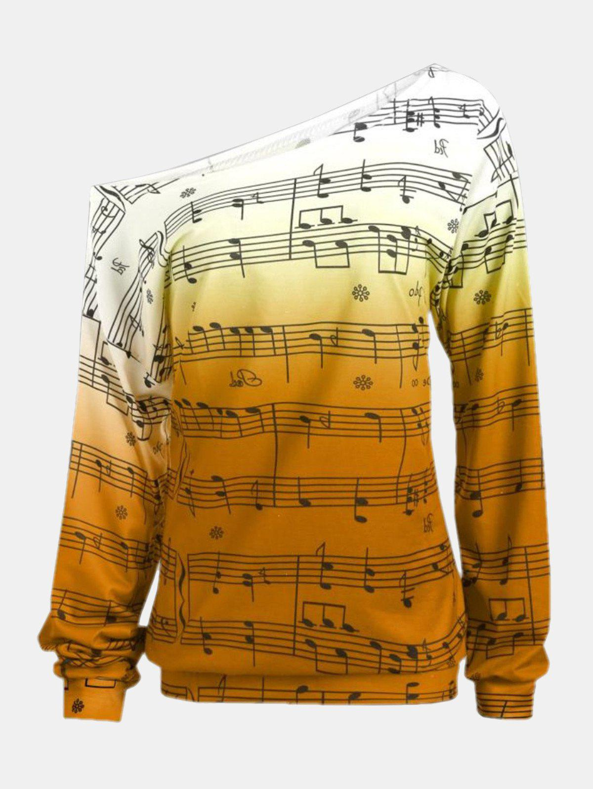 New Personality Gradually Change Color Note Printing Loose Long Sleeve Top