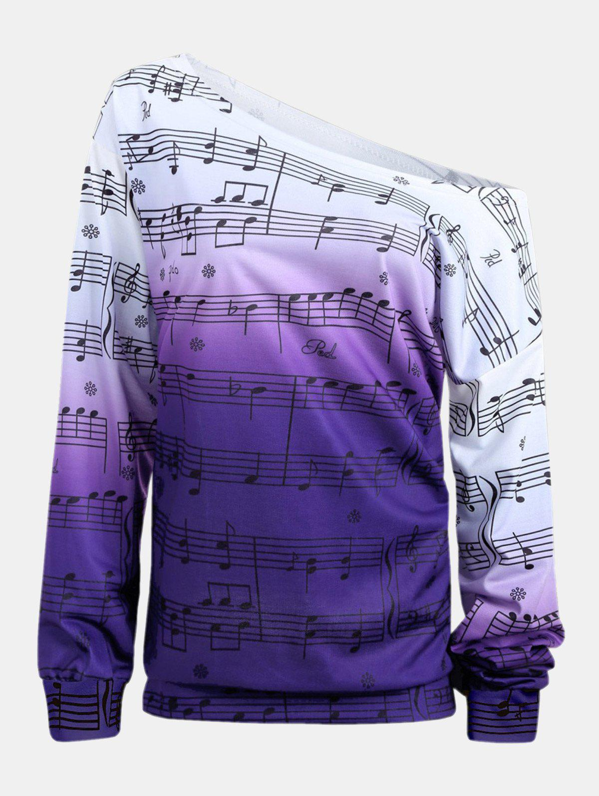 Shop Personality Gradually Change Color Note Printing Loose Long Sleeve Top