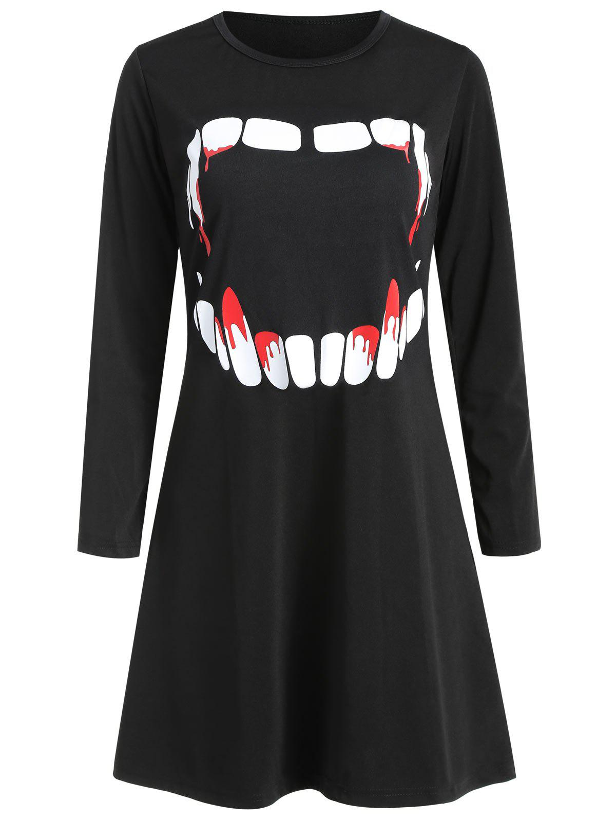Chic Women's Round Neck Long Sleeve Halloween Printing A-line Dress