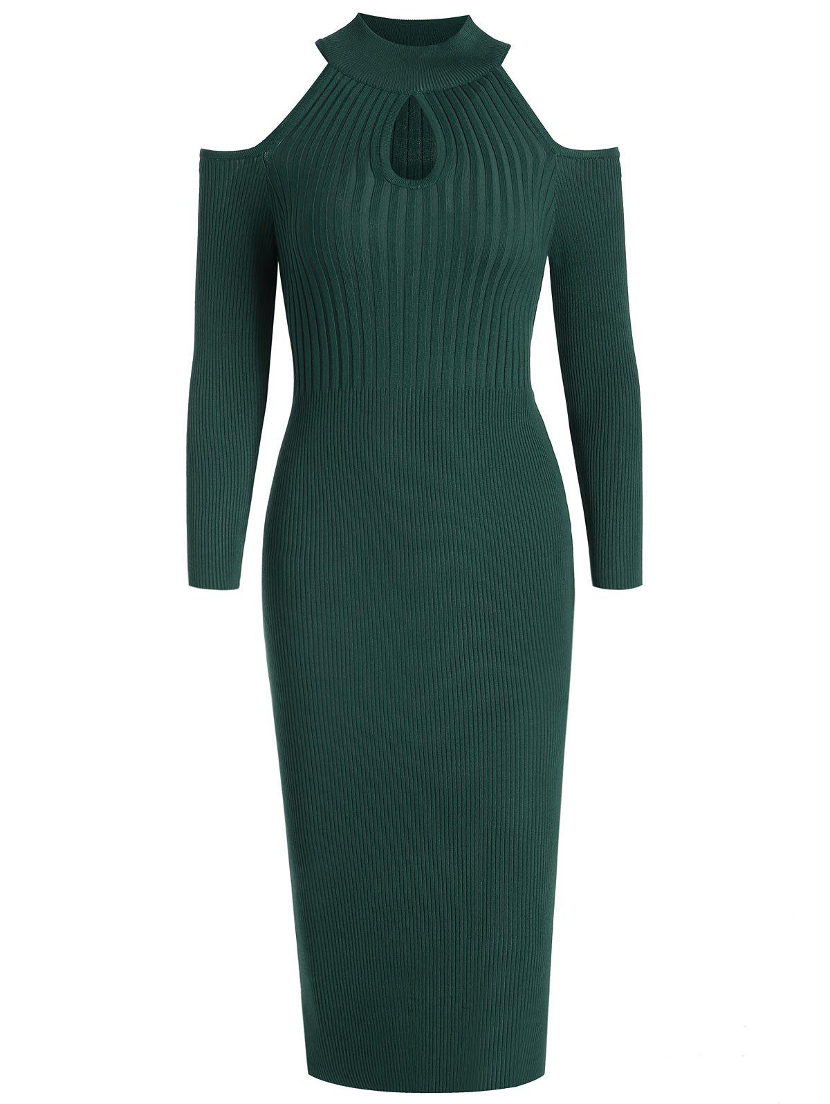 Fancy Women's Stand Collar Dew Shoulder Long Sleeved Bodycon Dress